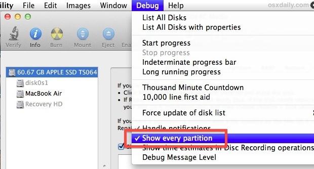 Mostra le partizioni nascoste in Mac OS X con Utility Disco