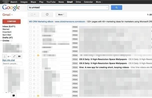 Visualizza le email non lette solo in Gmail