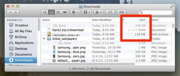 Mostra i progressi del download nelle finestre del Finder di Mac OS X.