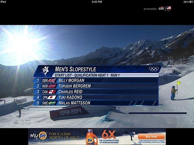Sochi Olympic live stream nell'app NBC