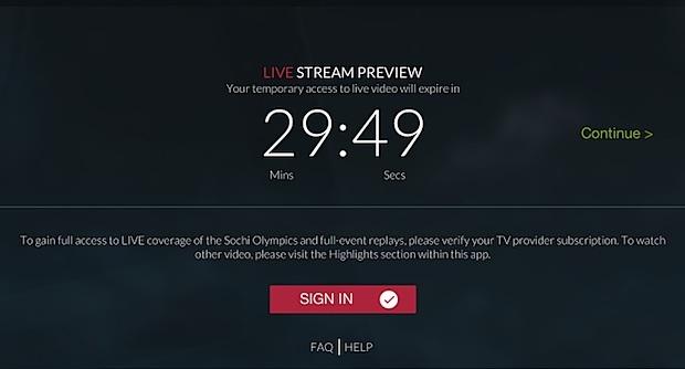 Limite live streaming NBC Olympics senza accesso