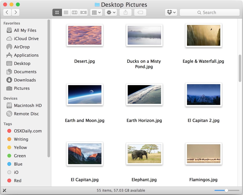 Posizione dell'immagine desktop predefinita nel file system Mac OS X.