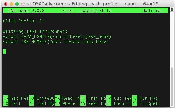 Imposta le variabili di ambiente in Mac OS X inserendole in bash_profile