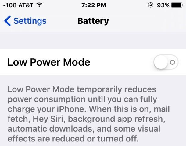 La disattivazione della modalità di risparmio energetico rimuove l'icona della batteria gialla