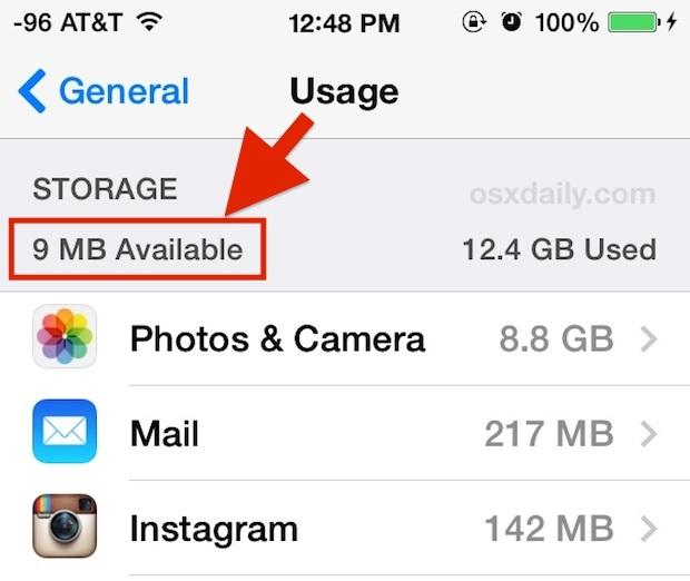 Utilizzo dello spazio di archiviazione iOS disponibile basso