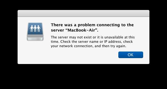 Problema di connessione al server Mac, messaggio di errore in OS X