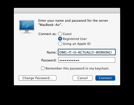 Schermata di accesso alla connessione del server locale in OS X