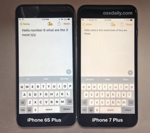 Schermo giallo iPhone 7 affiancato allo schermo iPhone 6S