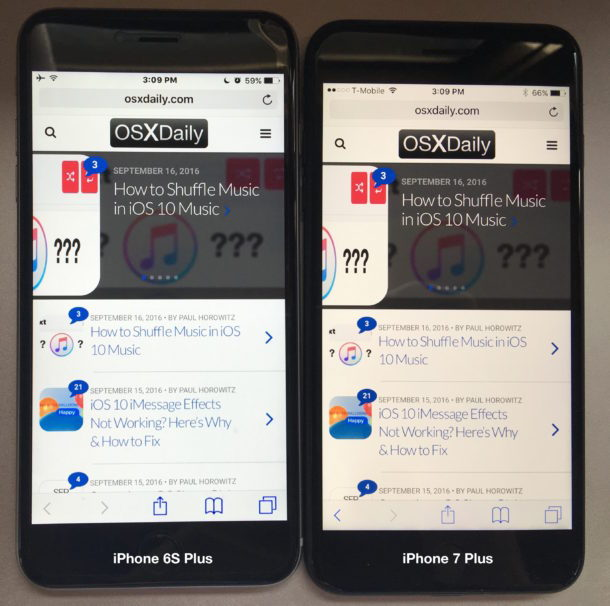 iPhone 7 Esempio di schermata gialla accanto a iPhone 6S
