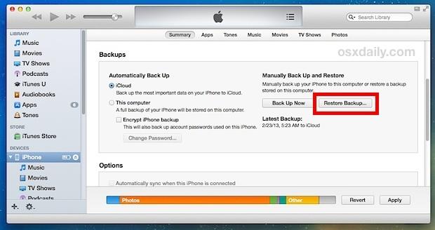 Recupera le foto da un iPhone utilizzando il ripristino di iTunes dal backup